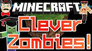 Minecraft NEW ZOMBIE AI ! Intelligent Zombies Follow You Around Trees !