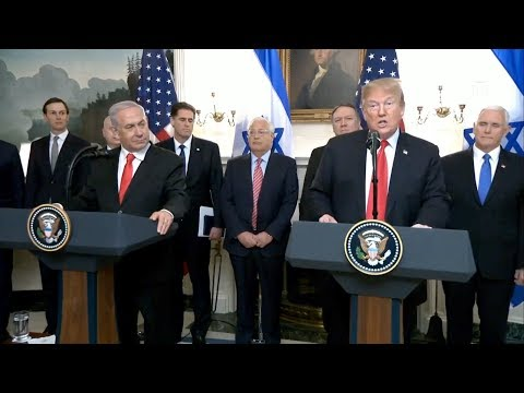 ترامب يوقع إعلانا يعترف بسيادة إسرائيل على مرتفعات الجولان
