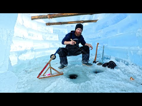 BUILDING a SURVIVAL ICE IGLOO | Ice HOTEL!