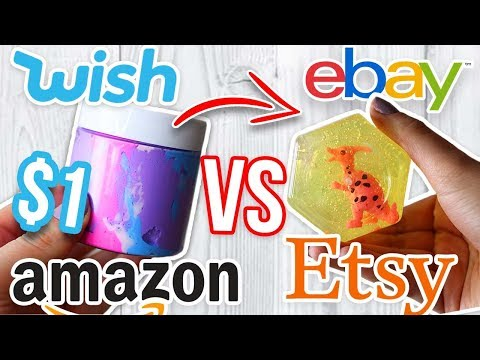 1 WISH SLIME VS 1 EBAY SLIME VS 1 AMAZON SLIME VS 1 ETSY SLIME! Which one is Worth it?!?