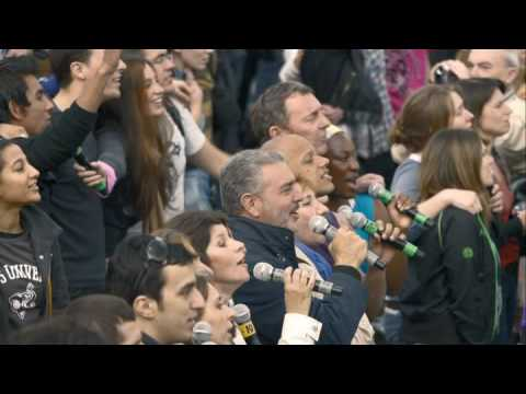 Life's for sharing - The moment 13500 people sang Hey Jude together in Trafalgar Square. Everyone involved arrived thinking they could be dancing - no-one had any idea how the e...