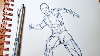 How to draw the muscles and fighting poses easy (Anime Drawing Tutorial for Beginners) (Baki Hanma)
