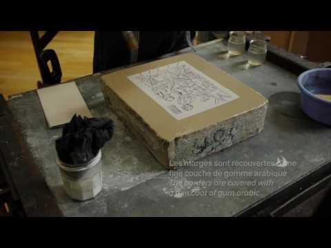 Lithographie : préparation de la pierre - Musée de l'imprimerie et de la communication graphique