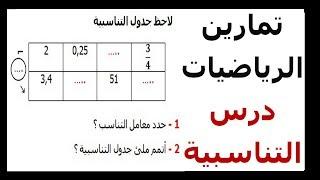 الرياضيات السادسة إبتدائي - التناسبية (1) تمرين 6