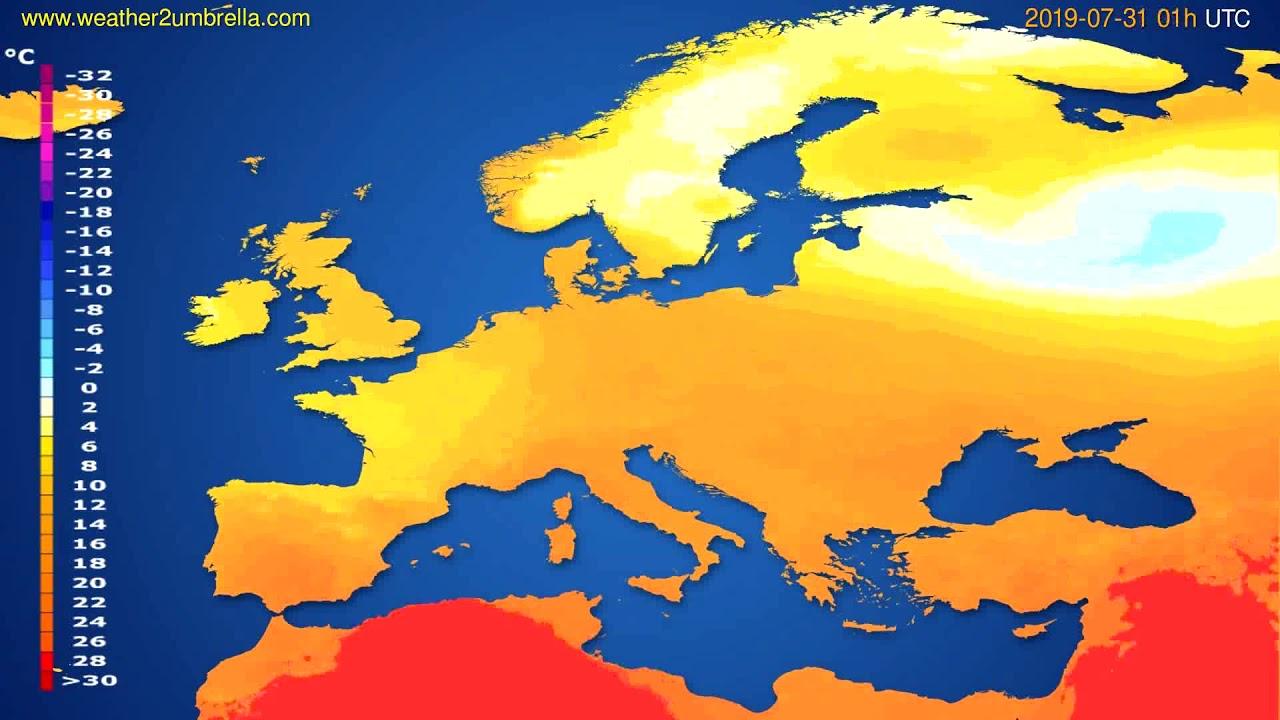 Temperature forecast Europe // modelrun: 00h UTC 2019-07-29