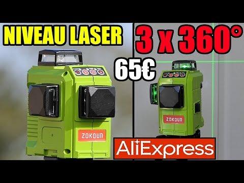 ALIEXPRESS Niveau laser 360° ZOKOUN Laser level  Laser-Ebene  Nivel láser  Лазерный уровень
