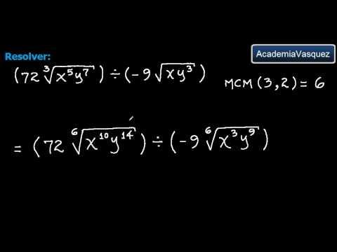 raíces con diferentes índices - Ejercicio práctico acerca de división de radicales de diferente índice. Hecho por AcademiaVasquez Página web: http://www.academiavasquez.com Página en Facebo...
