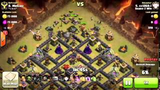 Attacking a near max th9 with an army of Golems, Hogs, and Wizards.