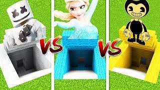 Minecraft  Marshmello Secret Base Vs Elsa Secret Base Vs BENDY Secret Base (PS4/XboxOne/PE/MCPE)