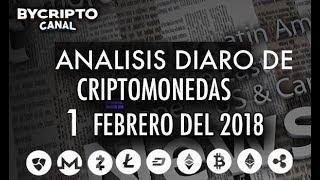 ANALISIS TÉCNICO DE CRIPTOMONEDAS BITCOIN RIPPLE ETHEREUM CASH LITECOIN 1 FEBRERO 2018 HOY