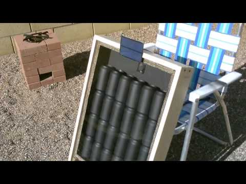 solar - solar air heater. solar air heat collector. simple to make. solar panel runs blower fan. no 'grid power' or batteries needed! hi temps. 150F (65.55C) and hig...
