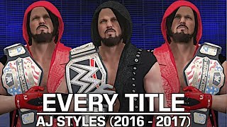 We take a look at every title AJ Styles has won in WWE from 2016 to 2017! Witness Styles defeat Dean Ambrose for the WWE World Title at Backlash 2016 to winning the triple threat match on SmackDown Live to become a two time United States Champion!Show some love by leaving a like, sharing and subscribing for more awesome videos like these!PROVIDED MUSIC:Music by David Fauhttp://www.youtube.com/freemetalsongshttp://www.youtube.com/bestpluginsOUTRO MUSIC: Undertaker's Rollin Theme Cover by JAYDEGARROWJAYDEGARROW's YouTube: https://www.youtube.com/channel/UCit4zHRRYaU5Og8ZHqvA7jQFOLLOW ME HERE:Facebook: https://www.facebook.com/julian.rosado.14Twitter: https://twitter.com/Jules1451Instagram: https://www.instagram.com/jules1451/Snapchat: @Jules1451Want to see more WWE 2K16 & WWE 2K17 Content? Visit this link for more! http://www.thesmackdownhotel.com