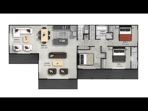 Casas de un piso y tres dormitorios planos y fachadas for Planos de casas youtube