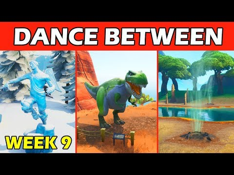 dance between three ice sculptures three dinosaurs and four hotsprings fortnite week 9 challenges - dance between 3 hot springs fortnite