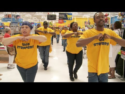 NC - September 5th, 2013, Raleigh, NC - As Walmart workers petition managers to reinstate employees who have been unfairly treated, a flash mob breaks out.