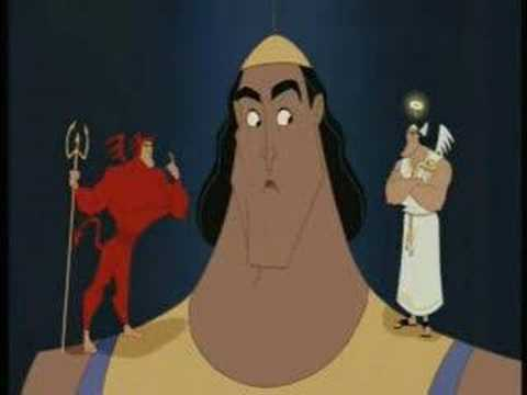 kronk - Kronk goes to throw out kuzco, but he just cant.