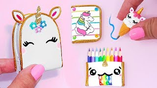 DIY: Miniature UNICORN School Supplies ( Backpack, Notebook, Pen, Pencil case) REALLY WORKS