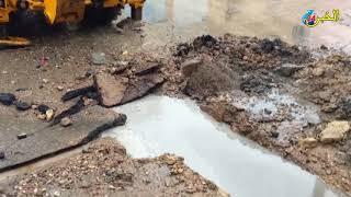 فضيحة إنسداد قناة الصرف الصحي بطريق ماسين