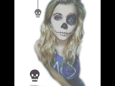 floral skeleton(easy) halloween makeup tutorial