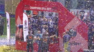 RSC Anderlecht win their 34th title and get the cup received after the match against KV Oostende (Ostend)