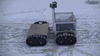 氷雪上を安定走行 岩手大が北極海氷調査用ロボ