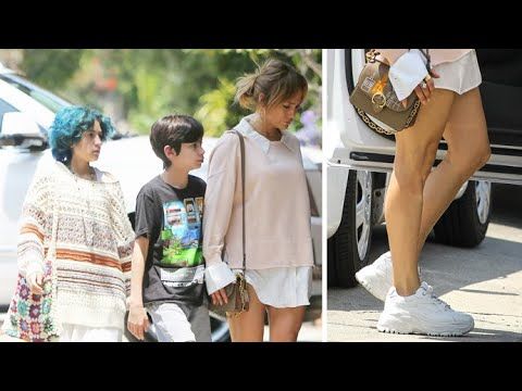 Jennifer Lopez Shows A Little Leg While Running Errands With Her Twins