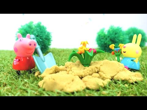Детские игрушки. Свинка Пеппа НОВАЯ СЕРИЯ.  Peppa Pig 🐰 на канале #плюшики. Выращиваем цветы! 🥀