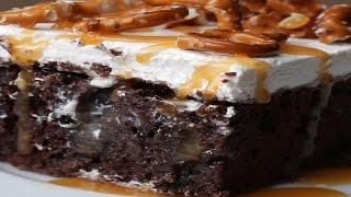 Chocolate Pretzel Poke Cake by Tasty