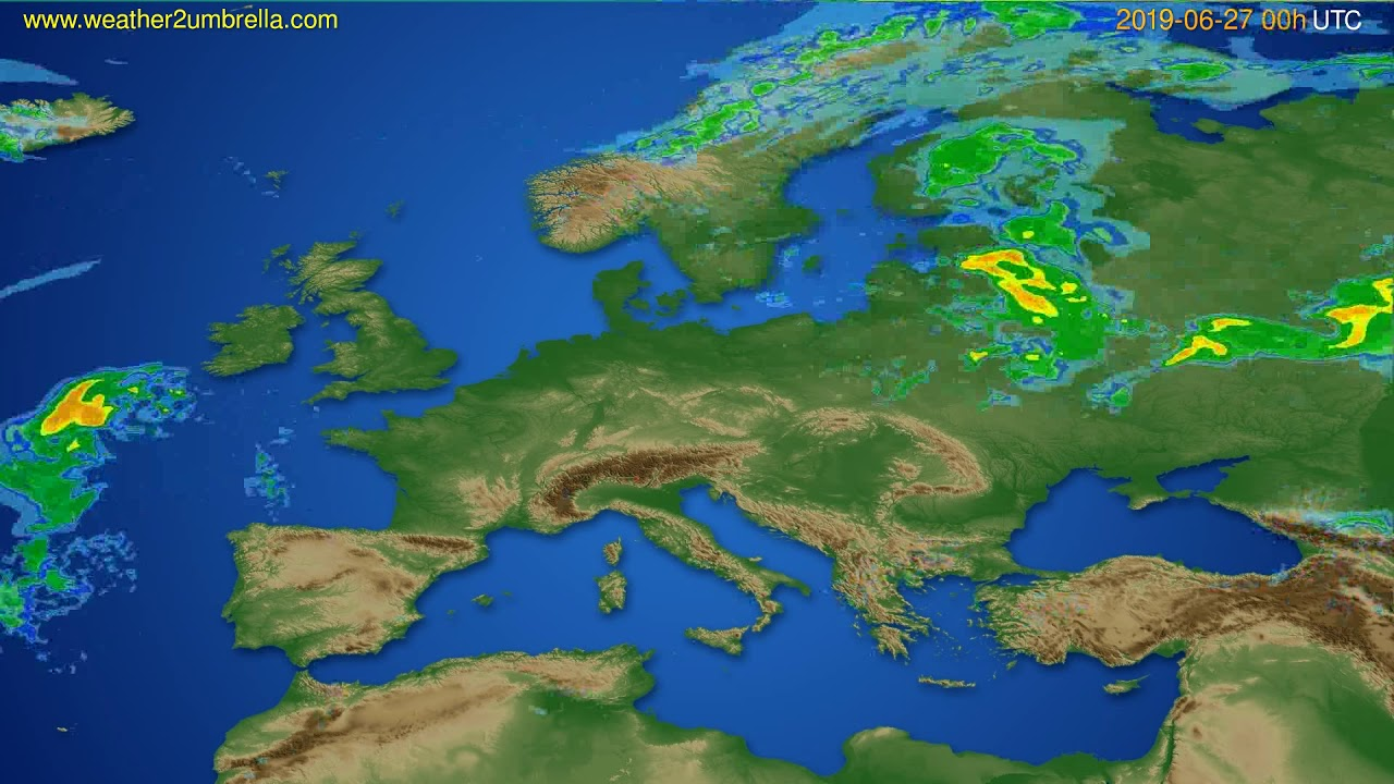 Radar forecast Europe // modelrun: 12h UTC 2019-06-26