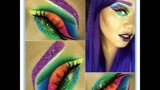 Extreme Neon Glitter Cut Crease Makeup Tutorial - YouTube
