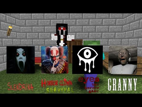 Monster School:Granny,Slendrina,Clown survival,Eyes horror game-Minecraft Animation