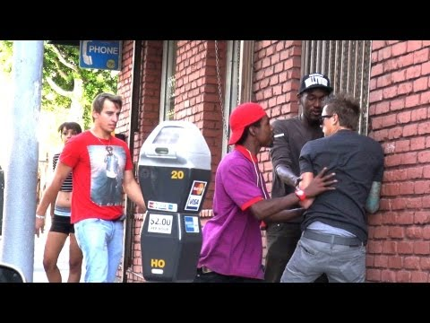 Steve - Subscribe to Steve-O - http://www.youtube.com/steveo We decided to dress Steve-O up as a residentially challenged man and beat him up in front of people. Thi...