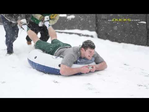 Football - A few football players, a few intertubes, and a lot of snow.