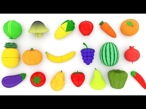 Learn Names of Fruits and Vegetables with Toy Velcro Cutting Fruits and Vegetables