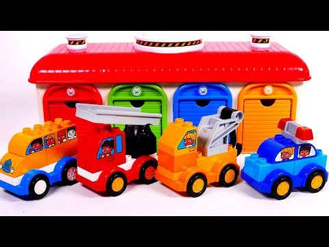 Building Blocks Toys for Children Learn Colors with Garage Parking Playset