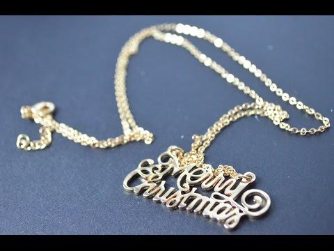 EVBEA Evil Beauty Collana d'oro con ciondolo Merry Christmas
