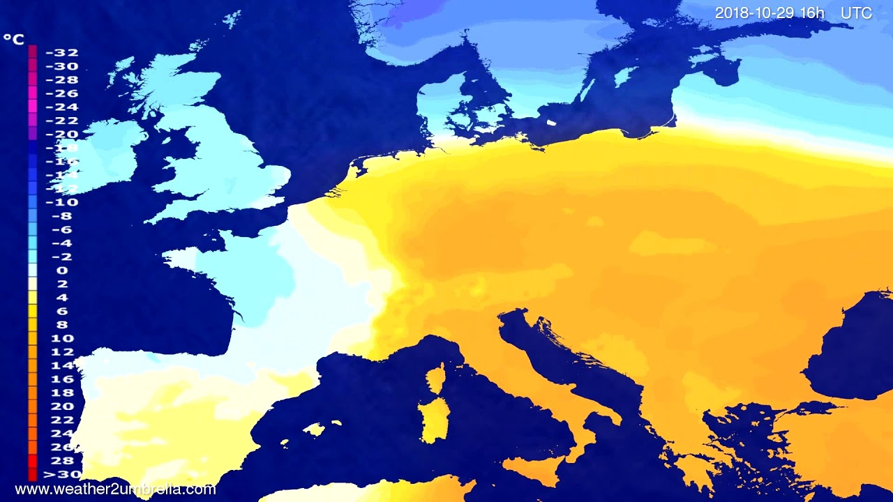 Temperature forecast Europe 2018-10-25