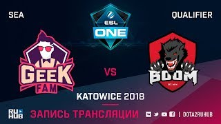 GeekFam vs BOOM ID, ESL One Katowice SEA, game 3 [Mila, LighTofHeaveN]