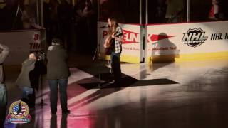 Sawyer Fredericks, winner of Season 8 of The Voice, performs the National Anthem at the All-Star Classic hockey game at the Civic Center in Glens Falls, NY o...
