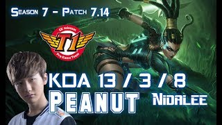 SKT T1 Peanut NIDALEE vs ELISE Jungle - Patch 7.14 KR Ranked ↓↓↓ Runes & Masteries ↓↓↓ GAME TYPE: Ranked Solo ...