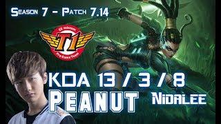 SKT T1 Peanut NIDALEE vs ELISE Jungle - Patch 7.14 KR Ranked ↓↓↓ Runes & Masteries ↓↓↓ GAME TYPE: Ranked Solo...