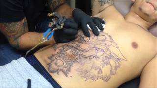 Ben Gun Wolf Head Tattoo Time Lapse part 1