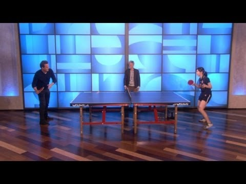 Ping Pong match Ariel Hsing vs Matthew Perry on Ellen