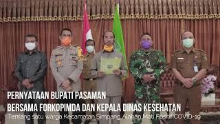 Pernyataan Bupati Pasaman tentang Warga Kecamatan SIMPATI Positif COVID-19