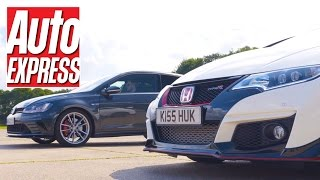 Civic Type R vs Golf GTI Clubsport S: FWD hot hatch drag race by Auto Express
