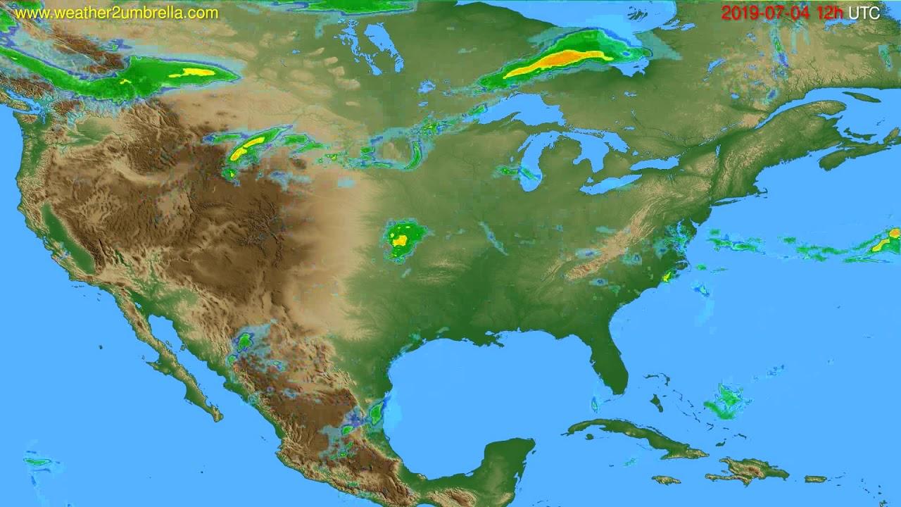 Radar forecast USA & Canada // modelrun: 00h UTC 2019-07-04