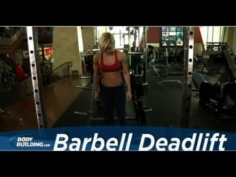 barbell - For more exercises: http://bbcom.me/ZML9cG Add this deadlift exercise to your leg / back workout! Stand in front of a loaded barbell. While keeping the back ...