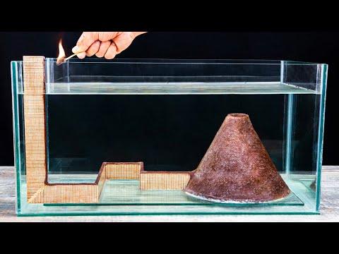 Matches Volcano VS Aquarium! Amazing Underwater Chain Reaction