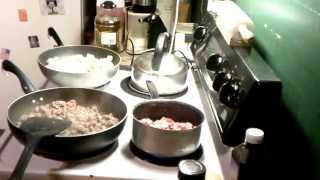 How To Cook Sloppy Joe's, Fried Potatoes and Baked Beans.