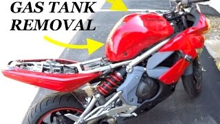 8. Removing Gas tank {WITHOUT} emptying it (09' Ninja 650r)